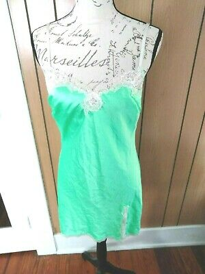 Victorias Secret Green Slip Lace Satin Long Nightgown Lingerie Side Slit M