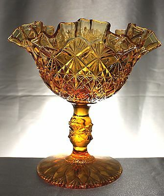 Vintage Amber Fenton Olde Virginia Glass Ruffled Pedestal Compote Candy Dish.