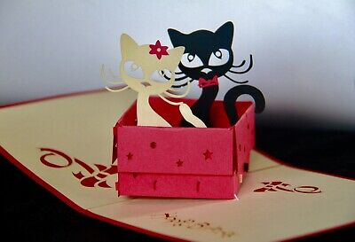 Handmade, Pop-up, 3D Cats in a Box Card, Any Occasion