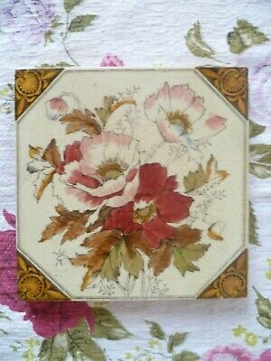 Antique 6 inch Floral Tile ,Washstand, Wall, fireplace Poppy