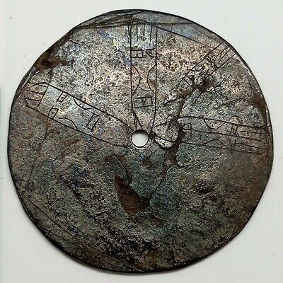 Bronze Art Mirror Idol Graffiti Face / Cult Siberia Scythians Kulay 100BC.-300AD