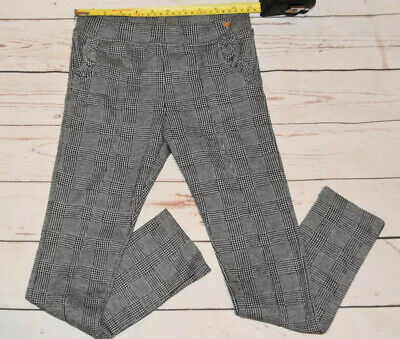 Girls H&M Size 7-8 Years Grey Checked Trousers Excellent C.