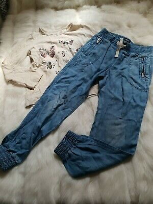 Girls 4-5 Years Outfit butterfly Top joggers harem Jeans pull on bundle Next Day