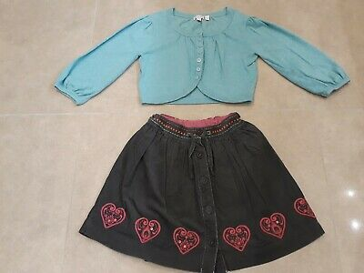 Girls Skirt & Bolero Cardigan. Age 8 Years. Monsoon & Butterfly. Good Condition.