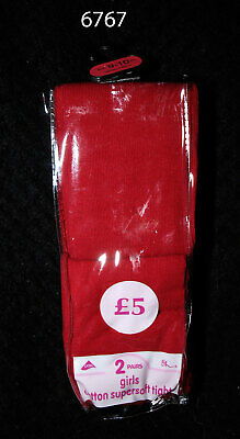Pack of Two Red Girls Cotton Supersoft Tights by BHS - Age 9-10 yrs