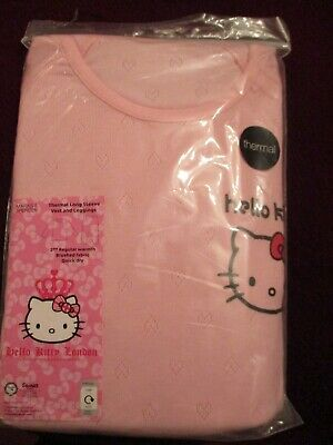Bnwt-Girls M&S Pink Thermal Vest & Leggings Hello Kitty Sz 15/16 Yrs