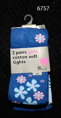 Pack of Two Girls Blue Flowered Cotton Soft Tights by BHS - age 7-8 yrs