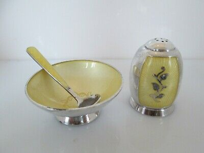 Vintage Yellow Enamel Salt Cellar, Spoon, Pepper Shaker Denmark Volmer Bahner
