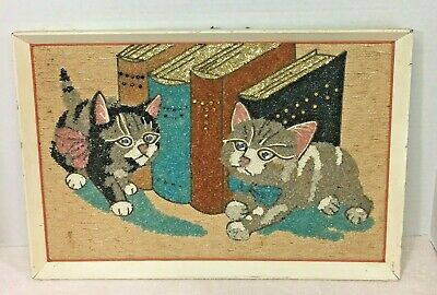 Vintage Rock Art on Burlap Cats Kittens with Books Framed 18 1/2 x 12 1/2