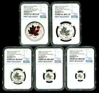 2020 'O' Canada Silver Red Crystal Maple Leaf Ngc Pf70 Rev Proof 5 Coin Set - Fr