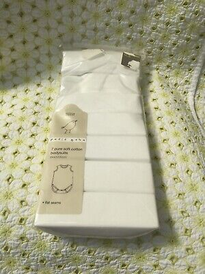 M&S White Pure Cotton Baby Bodysuits Up To 3 Months  Boys/girls