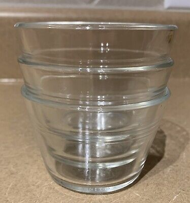 Set Of 3 Vintage Pyrex Clear Glass Custard Cups Originals Free Shipping
