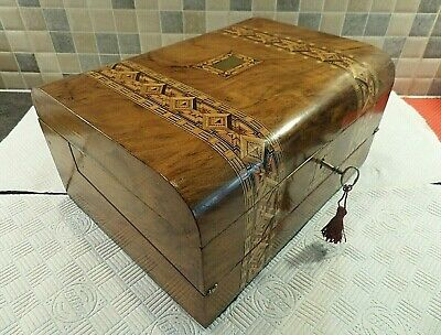 Victorian Inlaid Tunbridge Ware Figured Walnut Writing Box & Slope With Orig.key