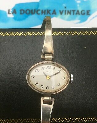 FRENCH 1960s LADY MOD WRIST WATCH~STERLING SILVER~MADE IN FRANCE~WORKS PERFECTLY