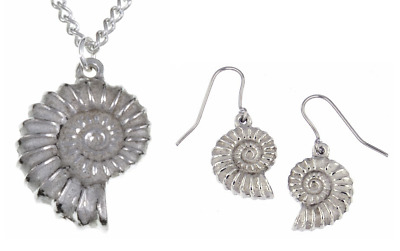 Ammonite Pendant / Necklace / Drop Earrings - St Justin Pewter