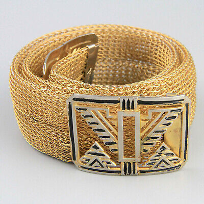 Wide Sandor Mesh Belt 1930s Art Deco Chain Mail Belt Enamel Clasp Goldtone Metal