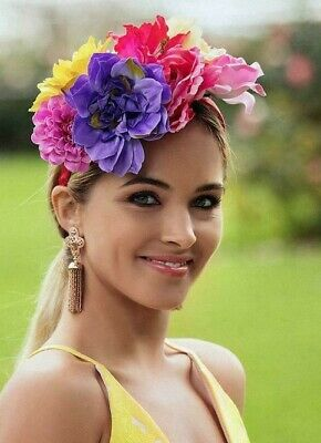 Morgan And Taylor Floral Crown Pink Yellow Purple Fascinator Headband Races