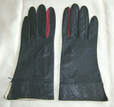 Italian 3-Color Lambskin Leather Gauntlet Style Gloves, Dk Navy Blue+Red+White