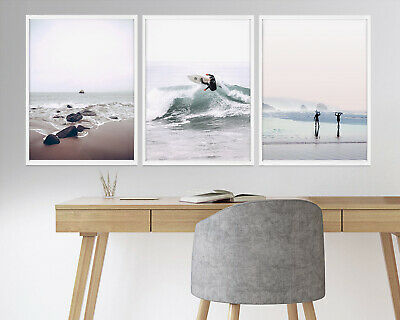 Set of 3 Blue Coral Watercolour Beach & Ocean Wall Art Print. A3 A2 A1 Size