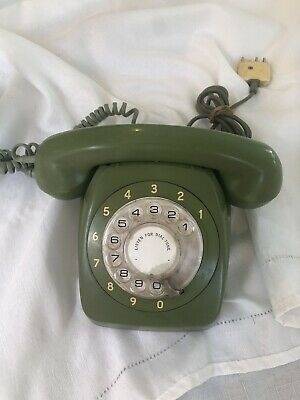 Vintage Retro Rotary Dial Phone - Green With Original Cord And Wall Plug Pmg 801
