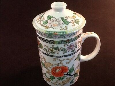 Chinese Porcelain Tea Cup Infuser Strainer Lid 10 oz White  Version 2 Gift