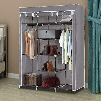 Canvas Wardrobe Hanging Rail Shelving Fabric Large Cupboard Clothe Storage Gray