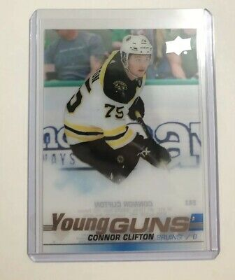 19-20 Ud Upper Deck Series 1 Connor Clifton Clear Cut Young Guns Rookie Rc Sp