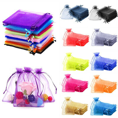 25/50/100pcs Organza Bags Wedding Xmas Party Favour Gift Candy Jewellery Pouch