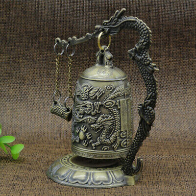 Bronze Carved Dragon Bell Brass Home Collectible Statue Anti Rust Decorative