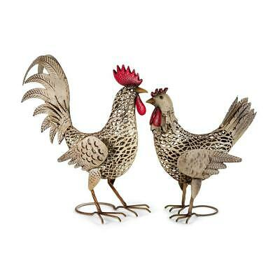 Set of 2 Assorted Large French Country Rooster & Chook Metal Statue Garden Decor