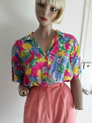 KATIES Vintage 80s Gaudy Abstract Floral Summer Blousy S/S Shirt size 14-16/L