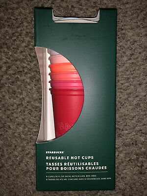 Starbucks 2019 Holiday Reusable 16 Oz Tumbler Cold Cup Set Of 6 Hot Cups