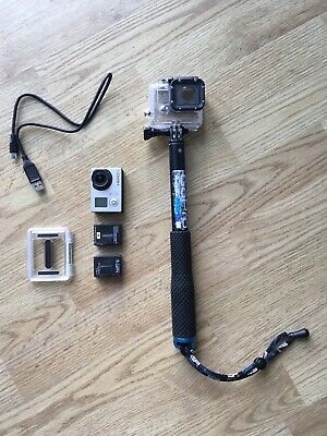 GoPro Hero3 Silver Edition Camcorder Bundle. Pole, Spare Battery, Head Mount