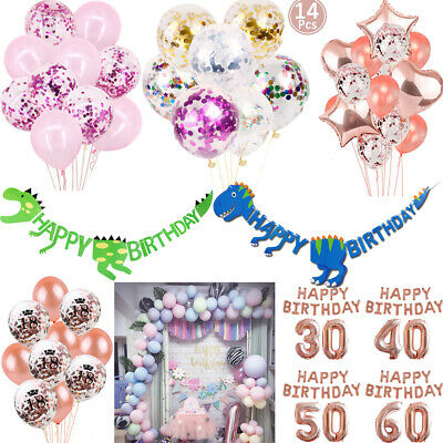 Usun Happy Birthday Bunting Banner Balloons 18/21st/30/40/50/60 Party Decoration