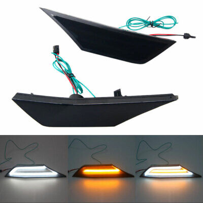 Smoked Lens LED Switchback Amber/White Side Marker Light For Honda Civic 2016-19