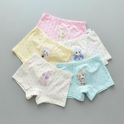 5 Pack Girls Cotton Boxer Shorts Underwear Briefs Cotton Age 3-12 Years New