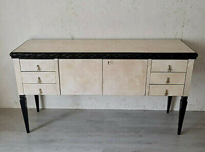 Little Italian Black Lacquered And Parchment Art Deco Sideboard From 1940