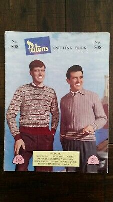 Vintage Knitting Pattern Men's Patons No. 508 c1950's. Very Good Condition