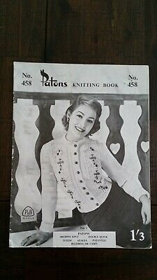 Vintage Knitting Pattern Ladies Patons No. 458 c1950's. Very Good Condition