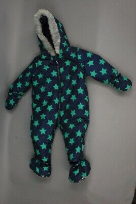 Tu Baby Insulated Quilted Snow Suit Blue & Green 6-9 Months 68-74cm Winter