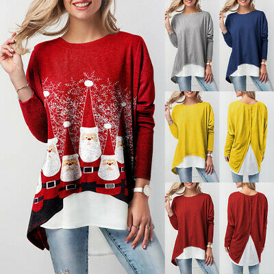UK Christmas Women Santa Ladies Tunic Jumper Pullover T Shirt Blouse Plus Size