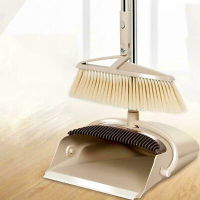 """Broom and Dustpan Set- 54"""" Long Handle Rotatable Self-Cleaning Broom and Dust Pa"""