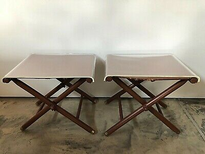 Vintage Retro Leather Folding Stool by Cavos Inc. NYC - Pair