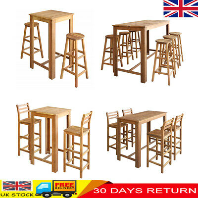 Modern Breakfast Dining Bar Table and 2/4/6 Chairs Stools Seats Set Wood Kitchen