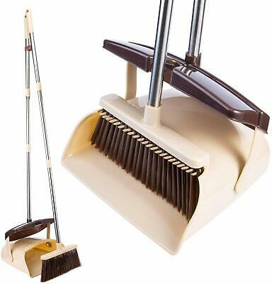 """Broom and Dustpan Set- 50"""" Long Handle Broom and Dust Pan with Long Handle-BEIGE"""