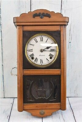 Vintage Ansonia Hanging Wall Clock with Key and Pendulum for Restoration