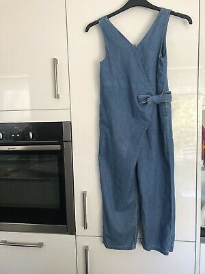 Zara Age 10 Girls Denim Playsuit Trousers All In One - Stunning