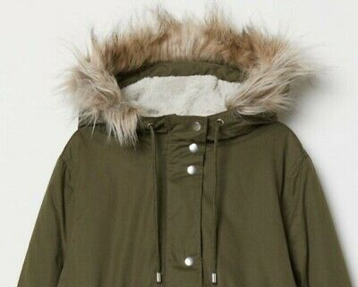 H&M Mama Maternity Sherpa Lined Khaki Quilted Parka Coat Size L Uk 14-16