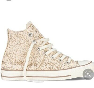 Converse All Star High Tops Gold Snowflake - Size 4