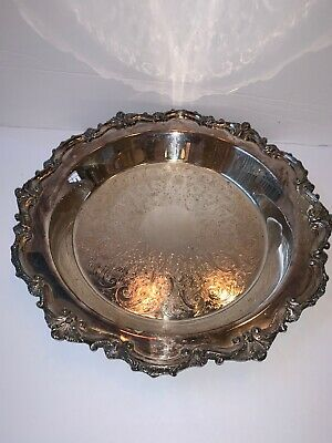 EPCA Bristol Silverplate by Poole Embossed Footed Tray with Elegant Border